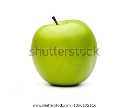 Stock Photo Healthy green apple on white background