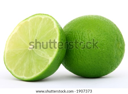 healthy green lime fruit, isolated on white, copy space