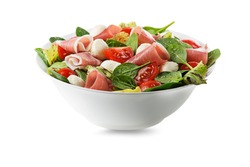 Healthy green salad with prosciutto, mozzarella and vegetables isolated on white background