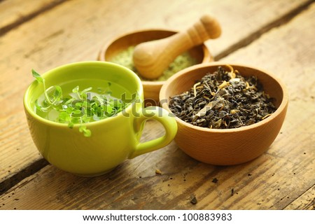 healthy green tea cup