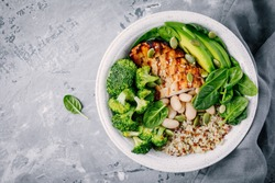 Healthy green vegetable buddha bowl lunch with grilled chicken and quinoa, spinach, avocado, broccoli and white beans on gray background. Top view.