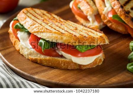 Healthy Grilled Basil Mozzarella Caprese Panini Sandwich Stok fotoğraf ©