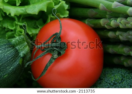 healthy groceries, asparagus, cherry tomato and vegetables isolated on white