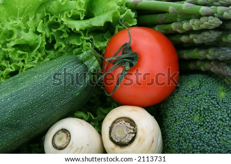 healthy groceries, lettuce, cherry tomatoes and vegetables isolated on white