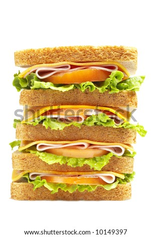 Healthy ham big sandwich with cheese, tomato and lettuce