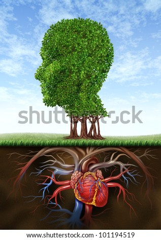Healthy heart and mind with a tree in the shape of a human head and a heart organ as roots growing under ground as a medical and health care connection between brain with blood circulation. - stock photo