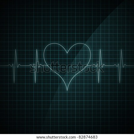Healthy heart beat on monitor screen. Medical illustration. Heart shape.