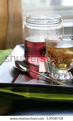 Healthy herbal tea on a table set for two