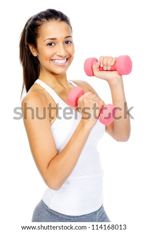 Healthy hispanic woman with dumbbells working out isolated on white background. fitness gym concept