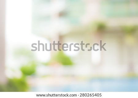 Healthy home concept: Blur outside healthy house with green garden background