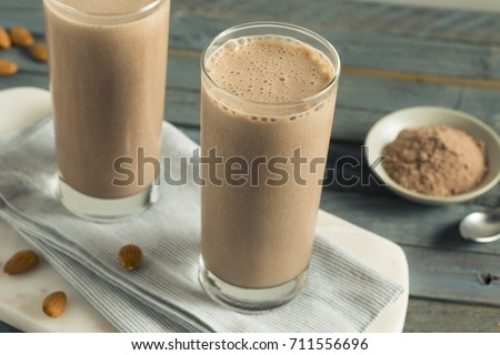 Healthy Homemade Chocolate Protein Shake with Almond Milk #711556696