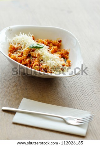healthy italian food spaghetti pasta bolognese  with tomato beef sauce - stock photo