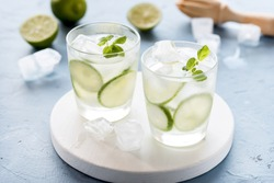Healthy Lemonade Lime with Fresh Mint and Ice in a Glass on Blue Background Tasty Homemade Detox Water Infused Water Horizontal Above