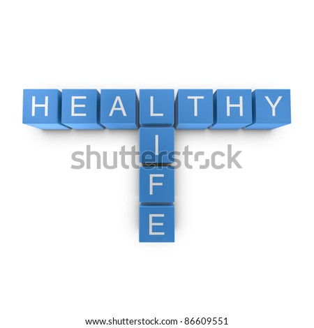 Healthy life crossword on white background, 3D rendered illustration
