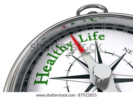 healthy life indicated by concept compass on white background