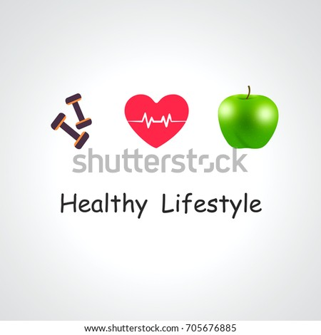 Healthy lifestyle and Fitness concept, with loss weight equipment over white gray background.