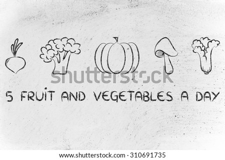 healthy lifestyle and staying fit: five a day veggies illustration