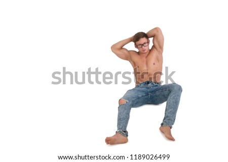 Healthy lifestyle. Attractive man. White background.