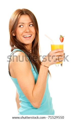 Healthy lifestyle brunette woman drinking orange juice cocktail with strawberry with drinking straw in highball glass isolated on a white background