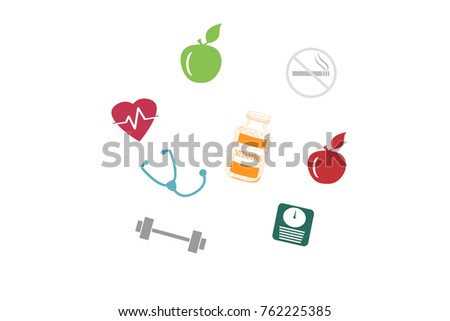 Healthy lifestyle concept illustration isolated on white background