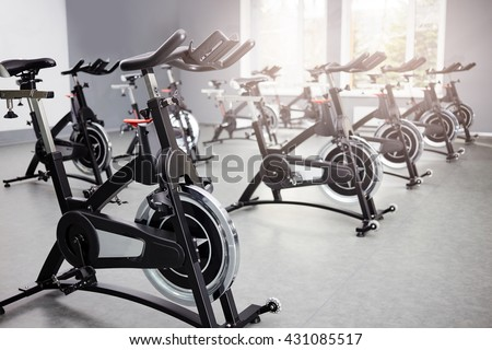Healthy lifestyle concept. Spinning class with empty bikes. fitness, sport, training