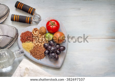 Healthy lifestyle concept with diet and fitness