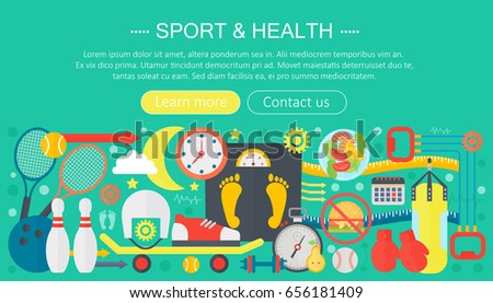 Healthy lifestyle concept with food and sport icons. Sport and fitness flat concept infographics template header design. Active life  illustration.