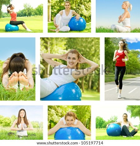 Healthy lifestyle fitness woman outdoor collection.