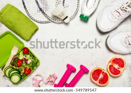 Healthy lifestyle, food, sport or athlete's equipment on bright background. Flat lay. Top view with copy space. #549789547