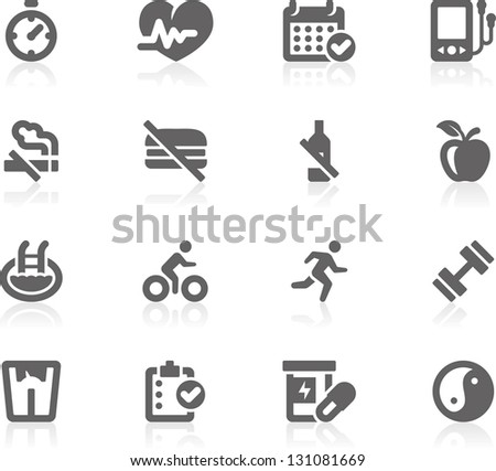 Healthy Lifestyle Gracy series Set of 16 professional healthy lifestyle icons for web applications web presentation and more