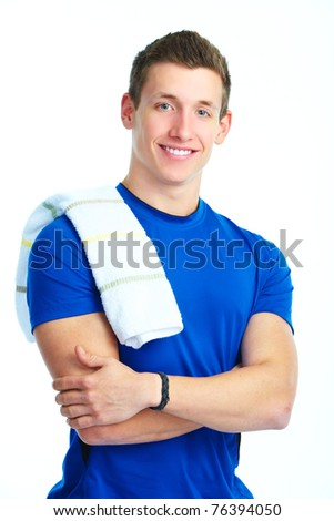Healthy lifestyle. Smiling man. Over white background