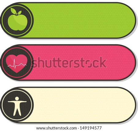 Healthy lifestyle stickers. Healthy food and fitness leads to healthy heart and healthy body.