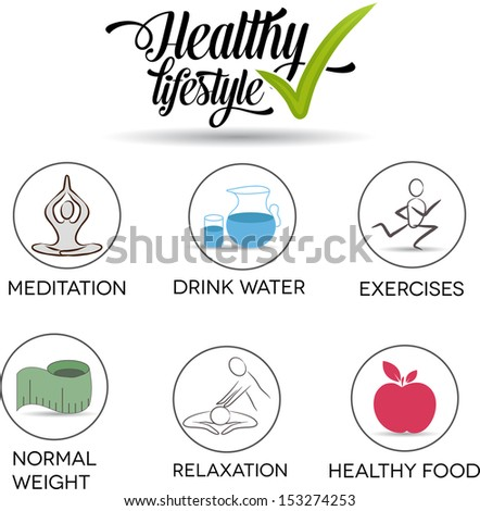 Healthy lifestyle symbols. Drink water, exercises, normal weight, healthy food, relaxation, meditation.