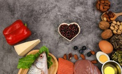 Healthy low carbs products and ketogenic food diet as a low carb and high fat food eating lifestyle,Healthy food -Healthy heart concept,copy space