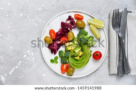 Healthy low carbs products. Ketogenic diet concept. flat lay keto food.  Balanced diet food background. Top view #1459141988
