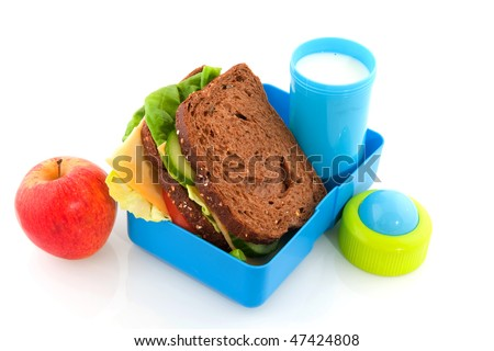 Healthy lunch box filled with bread for take away