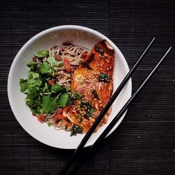 Healthy lunch, Salmon teriyaki with soba noodle salad