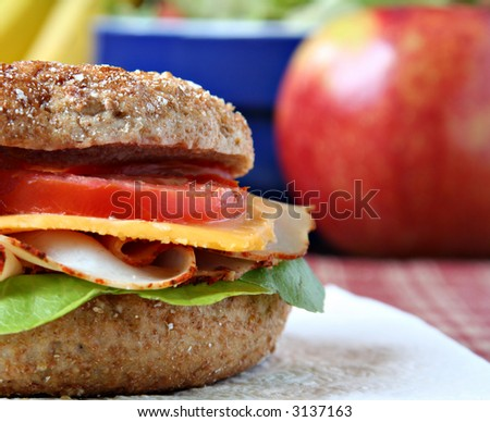 Healthy lunch, whole grain bagel with sliced turkey breast and fruit and vegetables.