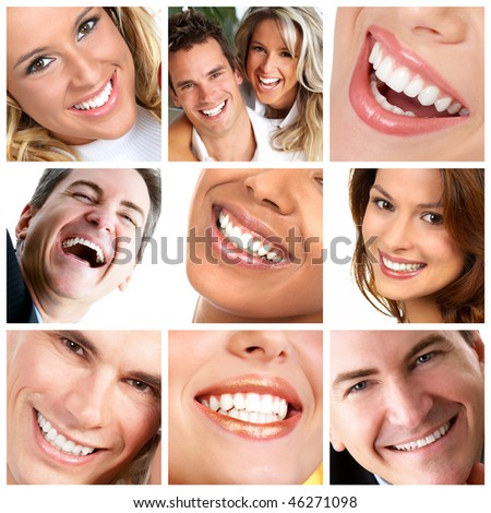 Healthy man and  woman teeth.