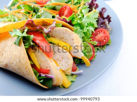 Healthy meal of smoked chicken burrito with plenty of raw salad