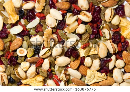 Healthy mixed dried fruit and nuts background