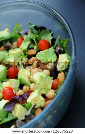 healthy mixed green salad with lots of veggies