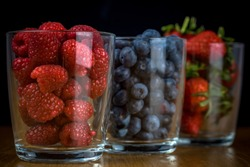 Healthy mugs of fruits. Fruits are chock-full of nutrients like vitamins, minerals, dietary fibre and phytonutrients, which help us stay healthy and even reduce the risk of disease.