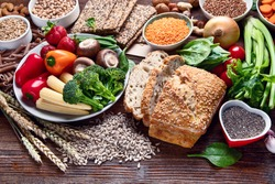 Healthy natural ingredients  containing  dietary fiber. Healthy high fiber diet eating concept with antioxidants and vitamins