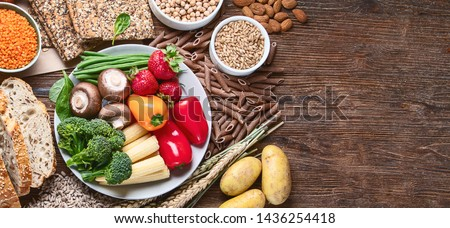 Healthy natural ingredients  containing  dietary fiber. Healthy high fiber diet eating concept with antioxidants and vitamins.  Panorama, banner with copy space Foto d'archivio ©