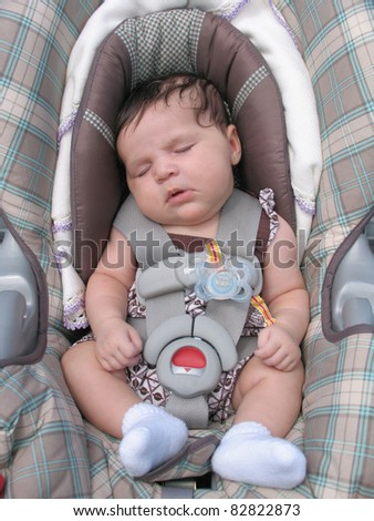 Healthy Newborn Infant Baby Sleeping in Car Seat