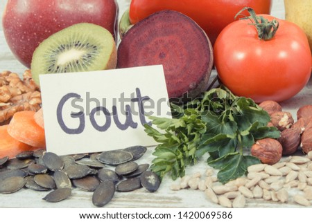 Healthy nutritious eating containing natural vitamins and minerals. Concept of best food for gout and kidneys health