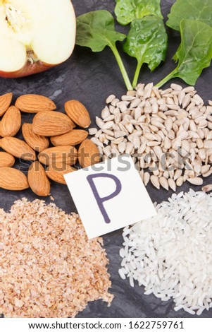 Healthy nutritious food as source natural minerals, vitamin P and dietary fiber