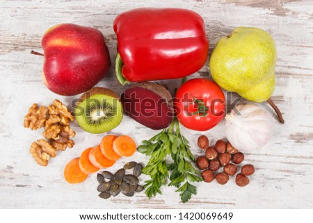 Healthy nutritious food to treat gout inflammation and for kidneys health