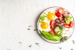 Healthy nutritious paleo keto breakfast diet Fried eggs, bacon, avocado, cheese and fresh salad. Keto breakfast or lunch. banner, catering menu recipe place for text, top view.